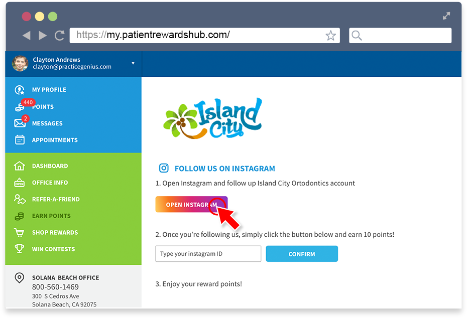 How do I follow my practice on Instagram? – Patient Rewards